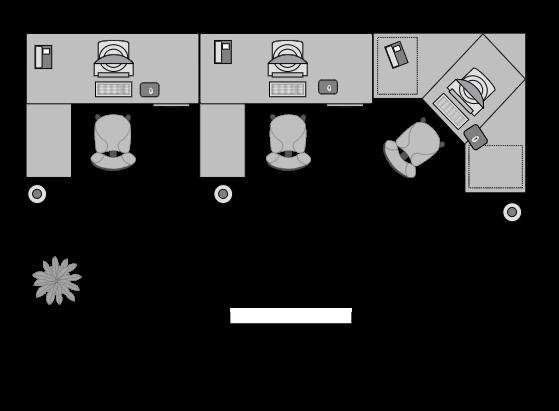 オフィスレイアウトその⑤ベンゼン・背面型レイアウト